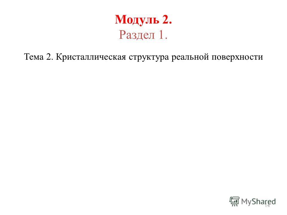 Модуль 2. Раздел 1. Тема 2. Кристаллическая структура реальной поверхности 14