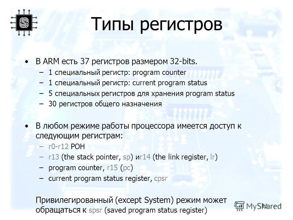13 Типы регистров В ARM есть 37 регистров размером 32-bits. –1 специальный регистр: program counter –1 специальный регистр: current program status –5 специальных регистров для хранения program status –30 регистров общего назначения В любом режиме раб