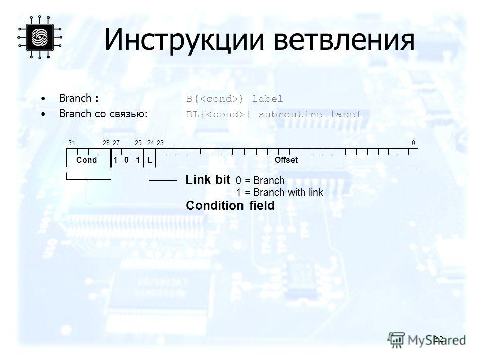 22 Branch : B{ } label Branch со связью: BL{ } subroutine_label 2831240 Cond 1 0 1 L Offset Condition field Link bit 0 = Branch 1 = Branch with link 232527 Инструкции ветвления