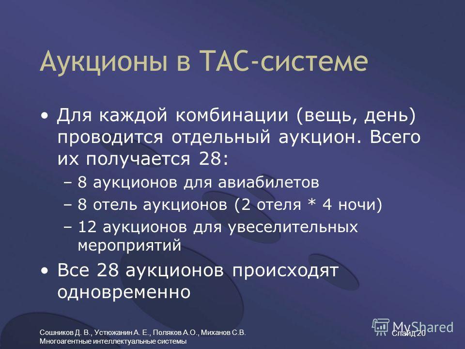 Сошников Д. В., Устюжанин А. Е., Поляков А.О., Миханов С.В. Многоагентные интеллектуальные системы Слайд 20 Для каждой комбинации (вещь, день) проводится отдельный аукцион. Всего их получается 28: –8 аукционов для авиабилетов –8 отель аукционов (2 от