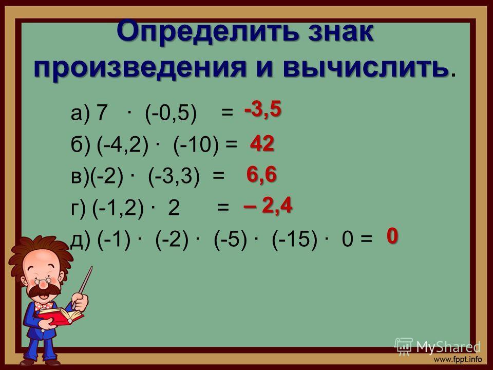Определить знак произведения и вычислить Определить знак произведения и вычислить. а) 7 · (-0,5) = б) (-4,2) · (-10) = в)(-2) · (-3,3) = г) (-1,2) · 2 = д) (-1) · (-2) · (-5) · (-15) · 0 = -3,5 -3,5 42 42 6,6 6,6 – 2,4 0