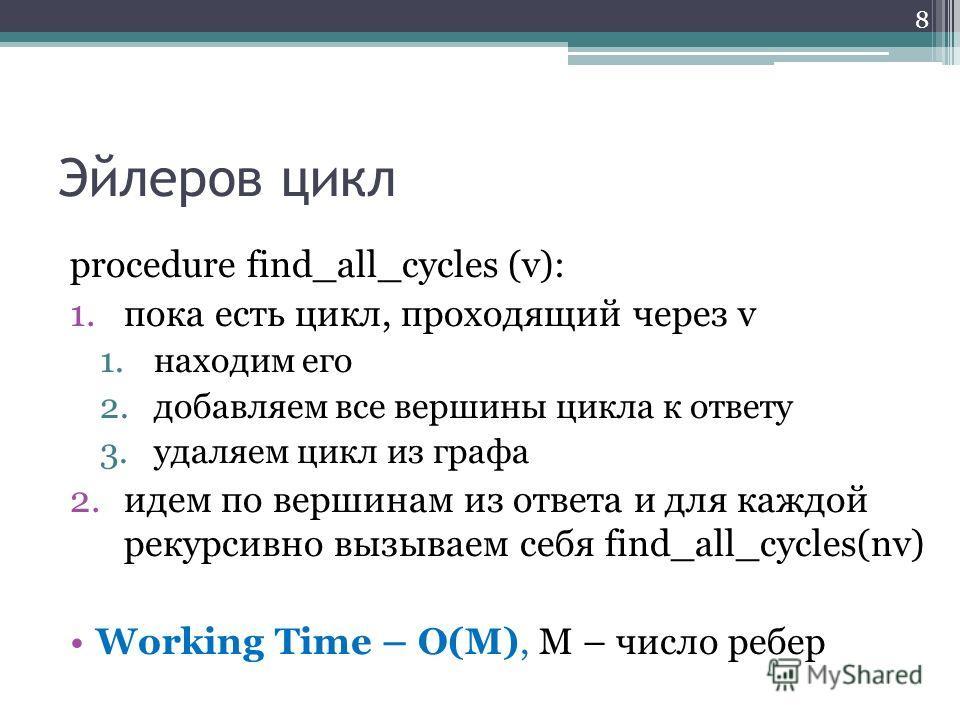 Эйлеров цикл procedure find_all_cycles (v): 1. пока есть цикл, проходящий через v 1. находим его 2. добавляем все вершины цикла к ответу 3. удаляем цикл из графа 2. идем по вершинам из ответа и для каждой рекурсивно вызываем себя find_all_cycles(nv)