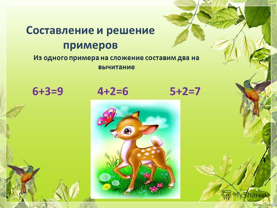 Составление и решение примеров Из одного примера на сложение составим два на вычитание 6+3=95+2=7 4+2=6
