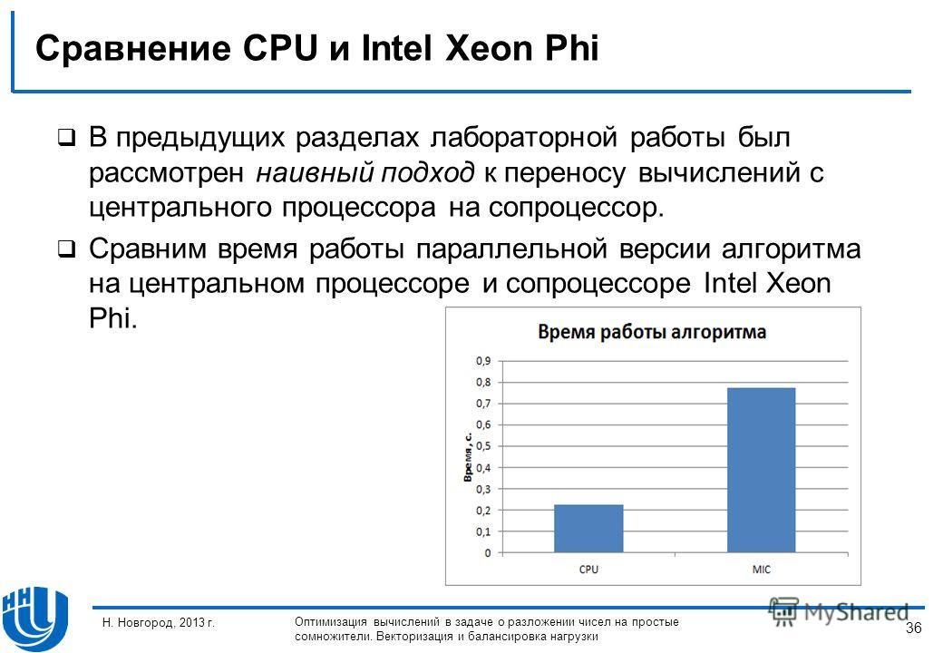 36 Н. Новгород, 2013 г. Оптимизация вычислений в задаче о разложении чисел на простые сомножители. Векторизация и балансировка нагрузки Сравнение CPU и Intel Xeon Phi В предыдущих разделах лабораторной работы был рассмотрен наивный подход к переносу