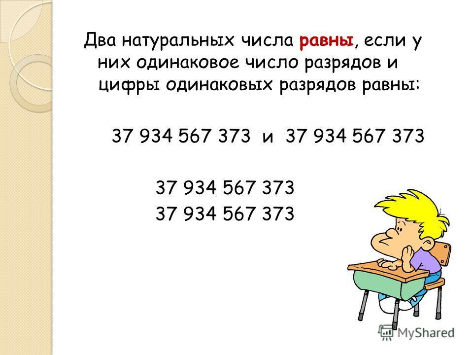 Два натуральных числа равны, если у них одинаковое число разрядов и цифры одинаковых разрядов равны: 37 934 567 373 и 37 934 567 373 37 934 567 373