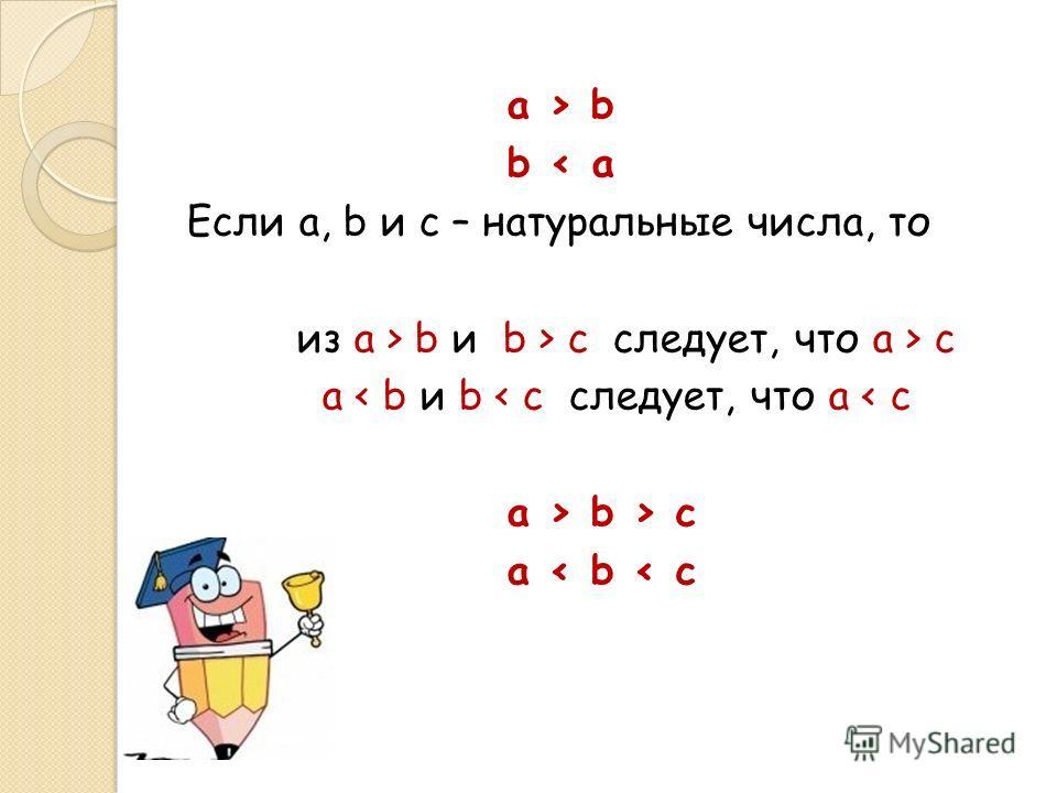 a > b b < a Если a, b и c – натуральные числа, то из a > b и b > c следует, что a > c a < b и b < c следует, что a < c a > b > c a < b < c
