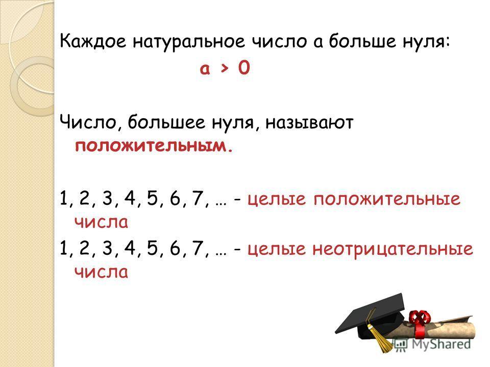 Каждое натуральное число a больше нуля: a > 0 Число, большее нуля, называют положительным. 1, 2, 3, 4, 5, 6, 7, … - целые положительные числа 1, 2, 3, 4, 5, 6, 7, … - целые неотрицательные числа