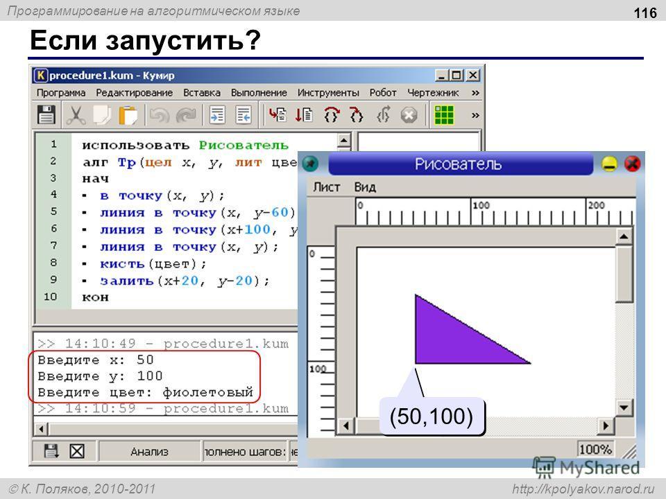 Программирование на алгоритмическом языке К. Поляков, 2010-2011 http://kpolyakov.narod.ru Если запустить? 116 (50,100)