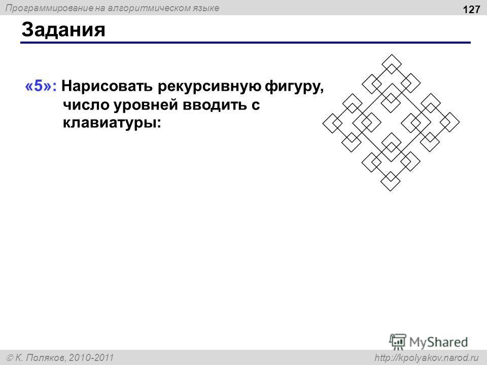 Программирование на алгоритмическом языке К. Поляков, 2010-2011 http://kpolyakov.narod.ru «5» : Нарисовать рекурсивную фигуру, число уровней вводить с клавиатуры: Задания 127