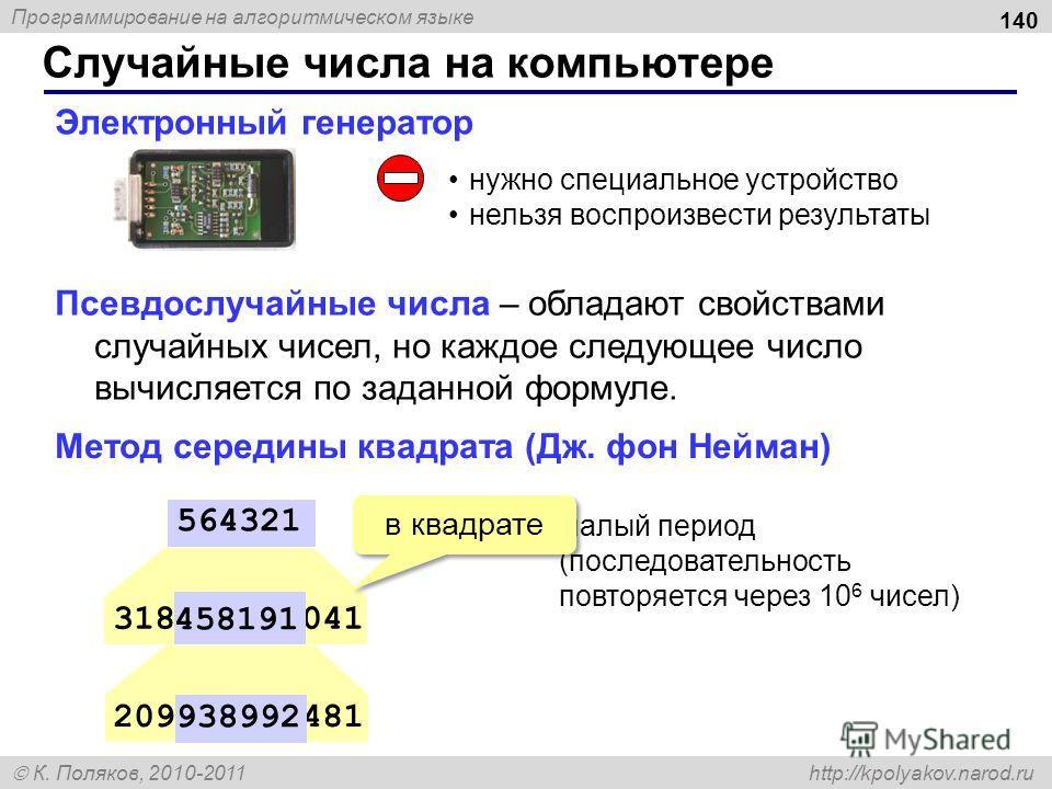 Программирование на алгоритмическом языке К. Поляков, 2010-2011 http://kpolyakov.narod.ru Электронный генератор нужно специальное устройство нельзя воспроизвести результаты 318458191041 564321 209938992481 458191 938992 малый период (последовательнос