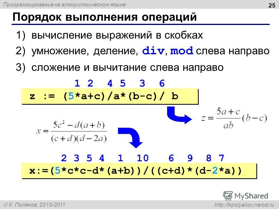 Программирование на алгоритмическом языке К. Поляков, 2010-2011 http://kpolyakov.narod.ru Порядок выполнения операций 25 1)вычисление выражений в скобках 2)умножение, деление, div, mod слева направо 3)сложение и вычитание слева направо z := (5*a+c)/a