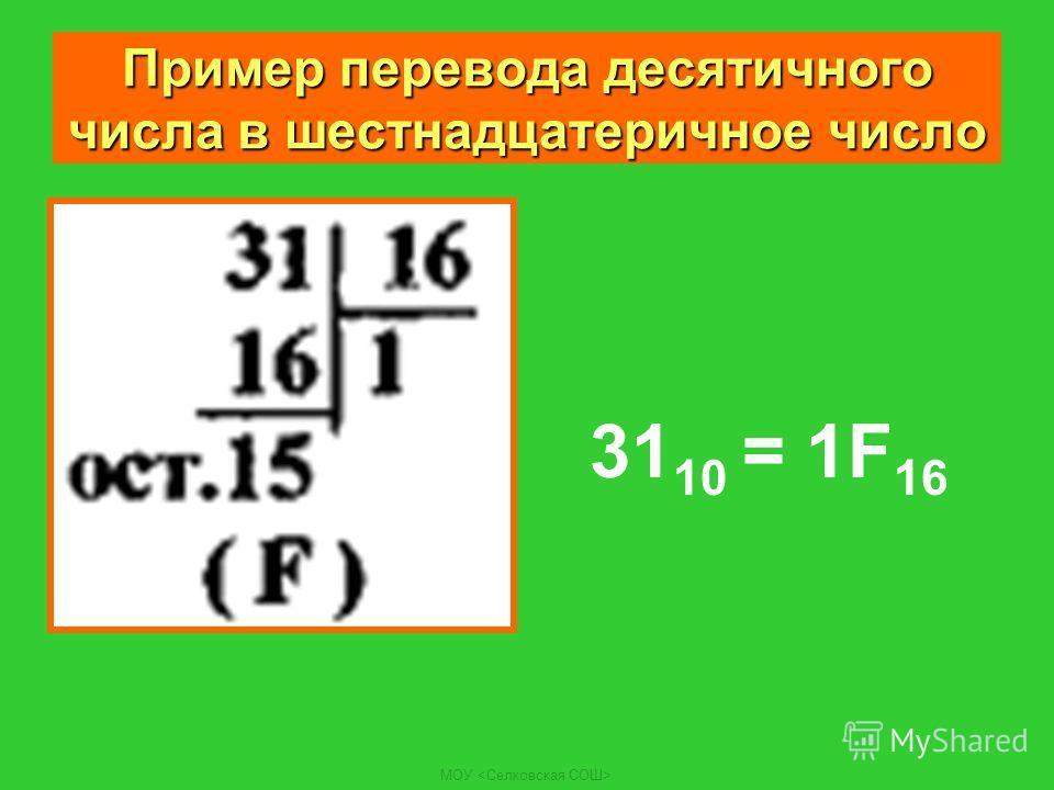 МОУ Пример перевода десятичного числа в шестнадцатеричное число 31 10 = 1F 16