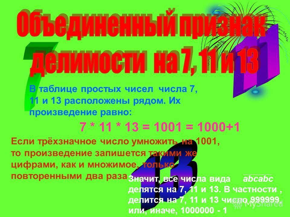 В таблице простых чисел числа 7, 11 и 13 расположены рядом. Их произведение равно: 7 * 11 * 13 = 1001 = 1000+1 Если трёхзначное число умножить на 1001, то произведение запишется такими же цифрами, как и множимое, только повторенными два раза Значит,