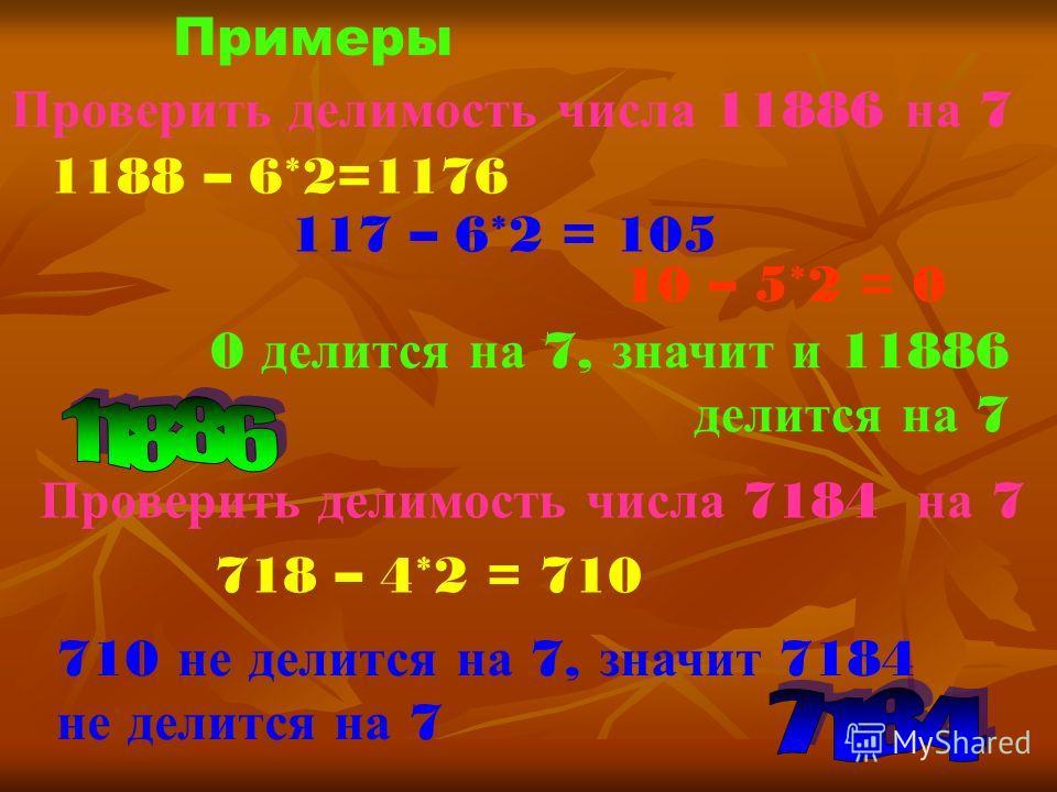 Примеры Проверить делимость числа 11886 на 7 1188 – 6*2=1176 117 – 6*2 = 105 10 – 5*2 = 0 0 делится н а 7, значит и 11886 делится н а 7 Проверить делимость числа 7184 на 7 718 – 4*2 = 710 710 н е делится н а 7, значит 7184 не делится н а 7