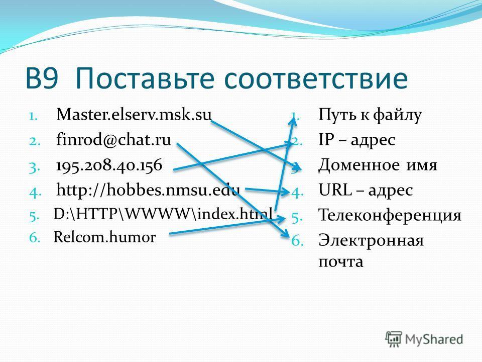 В9 Поставьте соответствие 1. Master.elserv.msk.su 2. finrod@chat.ru 3. 195.208.40.156 4. http://hobbes.nmsu.edu 5. D:\HTTP\WWWW\index.html 6. Relcom.humor 1. Путь к файлу 2. IP – адрес 3. Доменное имя 4. URL – адрес 5. Телеконференция 6. Электронная
