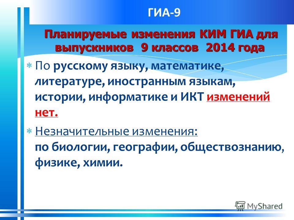 ГИА-9 Планируемые изменения КИМ ГИА для выпускников 9 классов 2014 года Планируемые изменения КИМ ГИА для выпускников 9 классов 2014 года По русскому языку, математике, литературе, иностранным языкам, истории, информатике и ИКТ изменений нет. Незначи