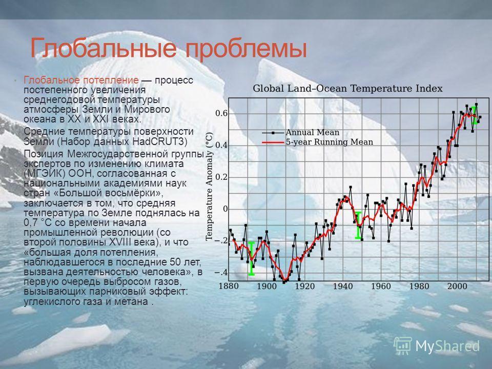 Глобальные проблемы Глобальное потепление процесс постепенного увеличения среднегодовой температуры атмосферы Земли и Мирового океана в XX и XXI веках. Средние температуры поверхности Земли (Набор данных HadCRUT3) Позиция Межгосударственной группы эк