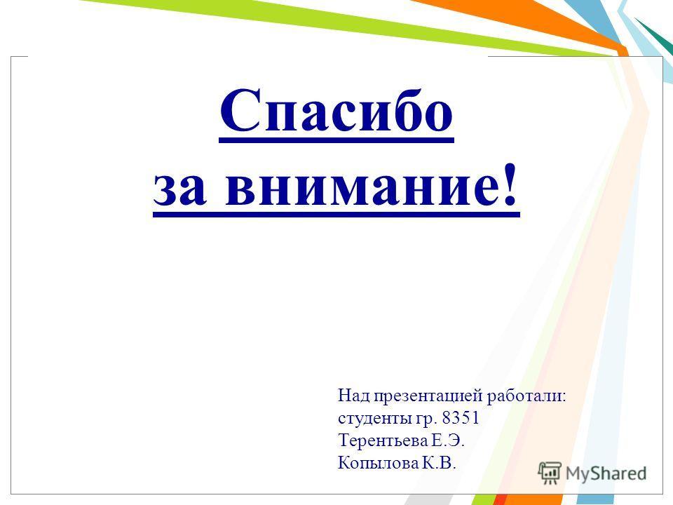 Спасибо за внимание! Над презентацией работали: студенты гр. 8351 Терентьева Е.Э. Копылова К.В.