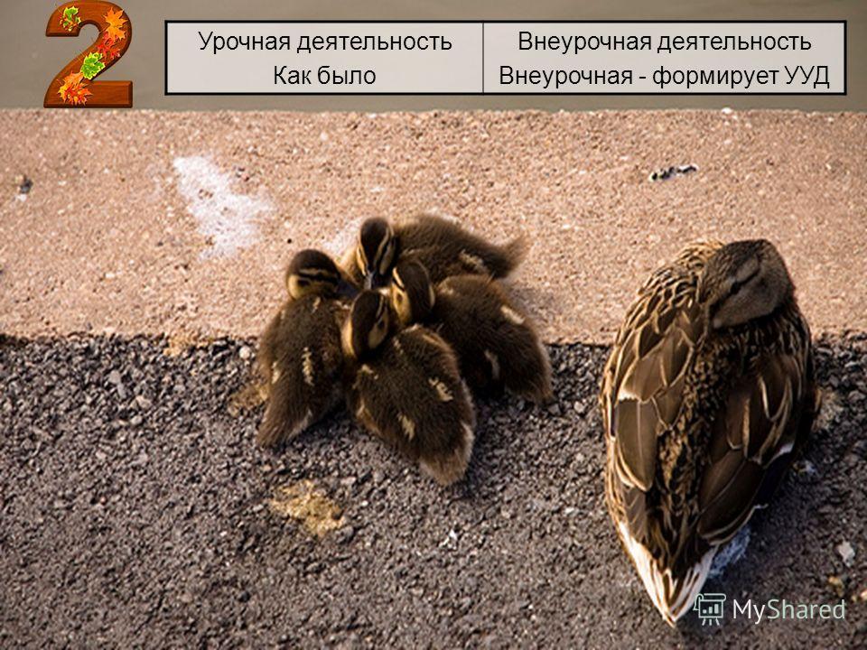 Урочная деятельность Как было Внеурочная деятельность Внеурочная - формирует УУД