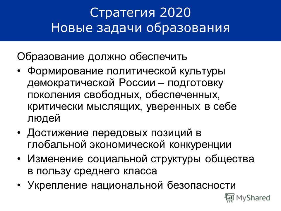 Стратегия 2020 Новые задачи образования Образование должно обеспечить Формирование политической культуры демократической России – подготовку поколения свободных, обеспеченных, критически мыслящих, уверенных в себе людей Достижение передовых позиций в