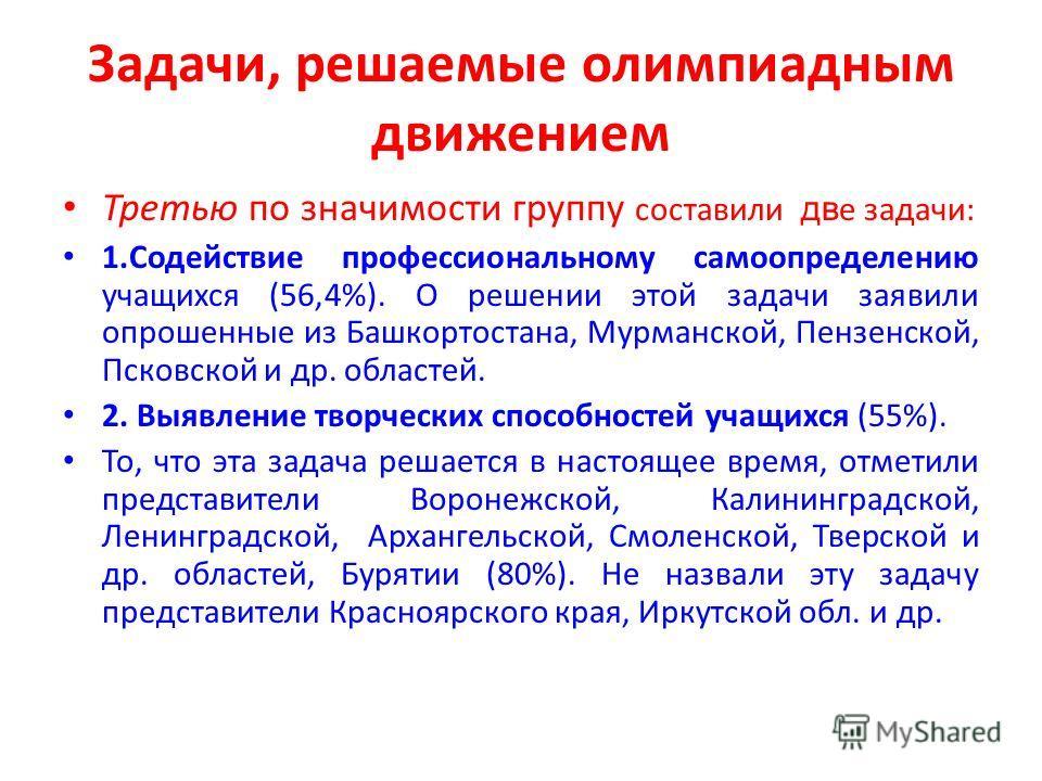 Задачи, решаемые олимпиадным движением Третью по значимости группу составили дв е задачи: 1. Содействие профессиональному самоопределению учащихся (56,4%). О решении этой задачи заявили опрошенные из Башкортостана, Мурманской, Пензенской, Псковской и