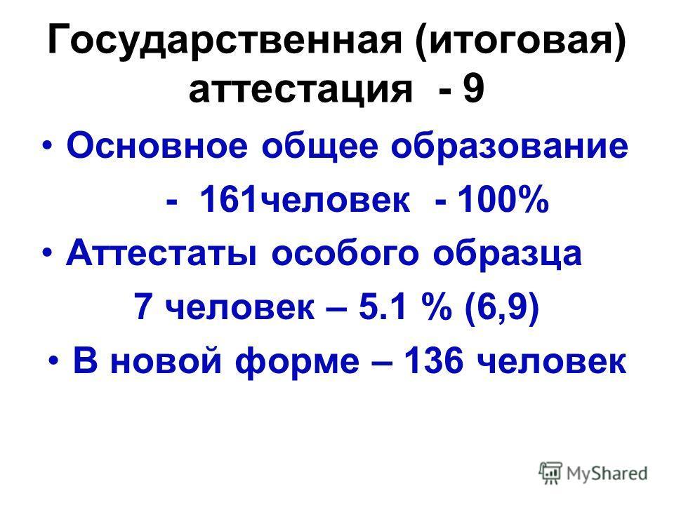 Государственная (итоговая) аттестация - 9 Основное общее образование - 161 человек - 100% Аттестаты особого образца 7 человек – 5.1 % (6,9) В новой форме – 136 человек