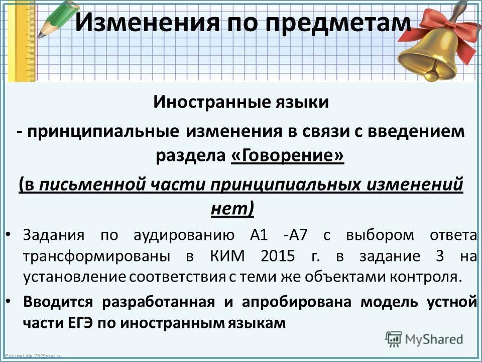 FokinaLida.75@mail.ru Изменения по предметам Иностранные языки - принципиальные изменения в связи с введением раздела «Говорение» (в письменной части принципиальных изменений нет) Задания по аудированию А1 -А7 с выбором ответа трансформированы в КИМ