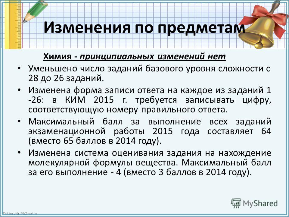 FokinaLida.75@mail.ru Изменения по предметам Химия - принципиальных изменений нет Уменьшено число заданий базового уровня сложности с 28 до 26 заданий. Изменена форма записи ответа на каждое из заданий 1 -26: в КИМ 2015 г. требуется записывать цифру,