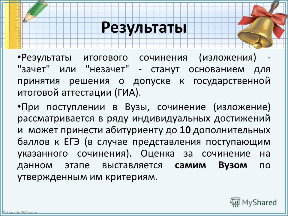 FokinaLida.75@mail.ru Результаты Результаты итогового сочинения (изложения) -