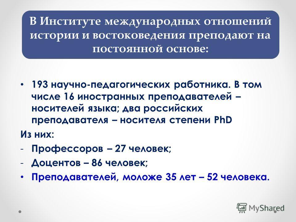 193 научно-педагогических работника. В том числе 16 иностранных преподавателей – носителей языка; два российских преподавателя – носителя степени PhD Из них: - Профессоров – 27 человек; - Доцентов – 86 человек; Преподавателей, моложе 35 лет – 52 чело