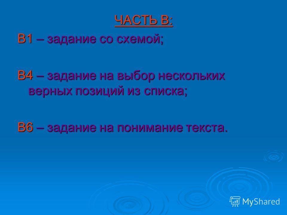 ЧАСТЬ В: В1 – задание со схемой; В4 – задание на выбор нескольких верных позиций из списка; В6 – задание на понимание текста.