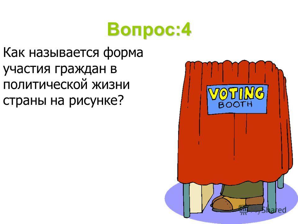 Вопрос:4 Как называется форма участия граждан в политической жизни страны на рисунке?