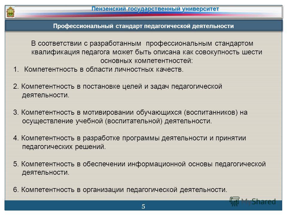 Профессиональный стандарт педагогической деятельности Пензенский государственный университет 5 В соответствии с разработанным профессиональным стандартом квалификация педагога может быть описана как совокупность шести основных компетентностей: 1. Ком