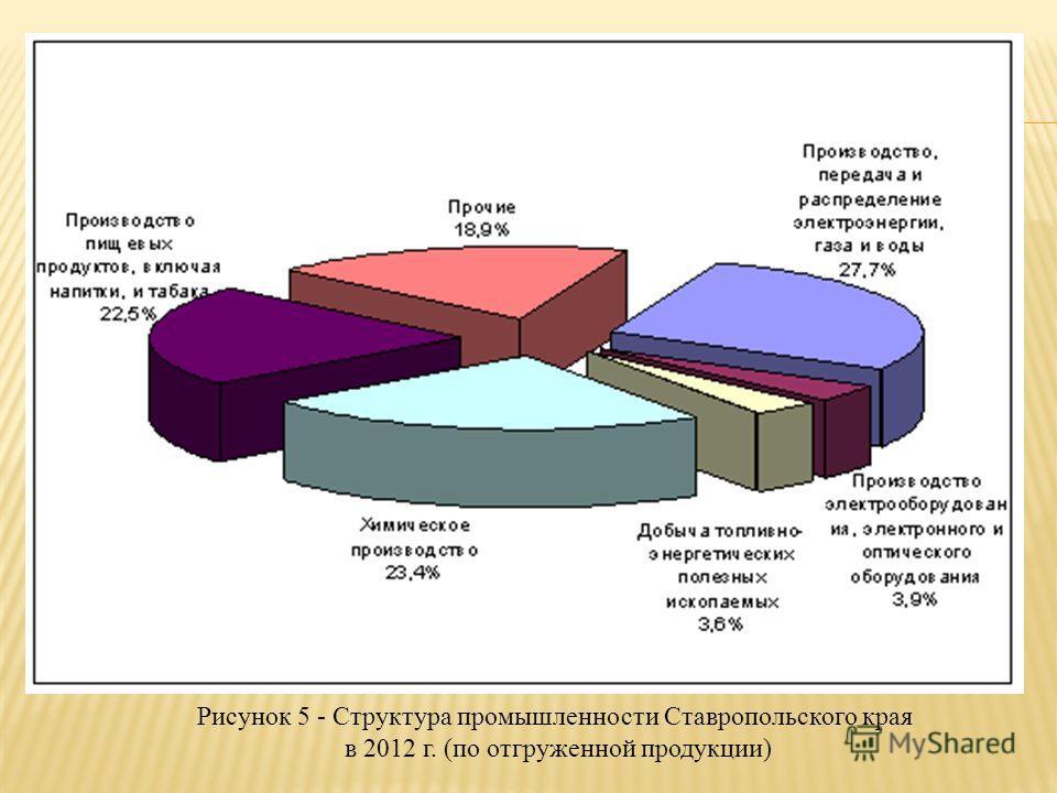 Рисунок 5 - Структура промышленности Ставропольского края в 2012 г. (по отгруженной продукции)