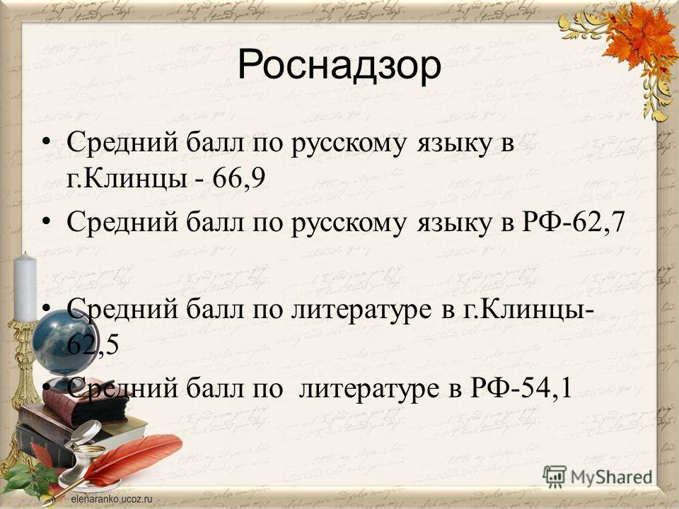 Роснадзор Средний балл по русскому языку в г.Клинцы - 66,9 Средний балл по русскому языку в РФ-62,7 Средний балл по литературе в г.Клинцы- 62,5 Средний балл по литературе в РФ-54,1