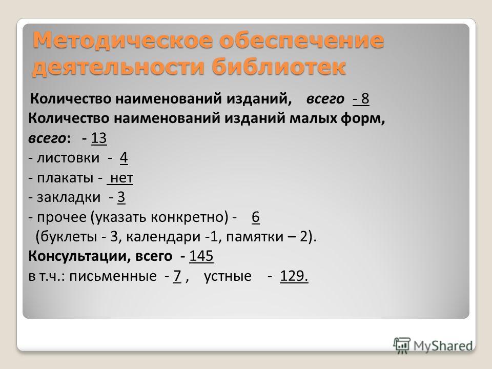 Методическое обеспечение деятельности библиотек Количество наименований изданий, всего - 8 Количество наименований изданий малых форм, всего: - 13 - листовки - 4 - плакаты - нет - закладки - 3 - прочее (указать конкретно) - 6 (буклеты - 3, календари