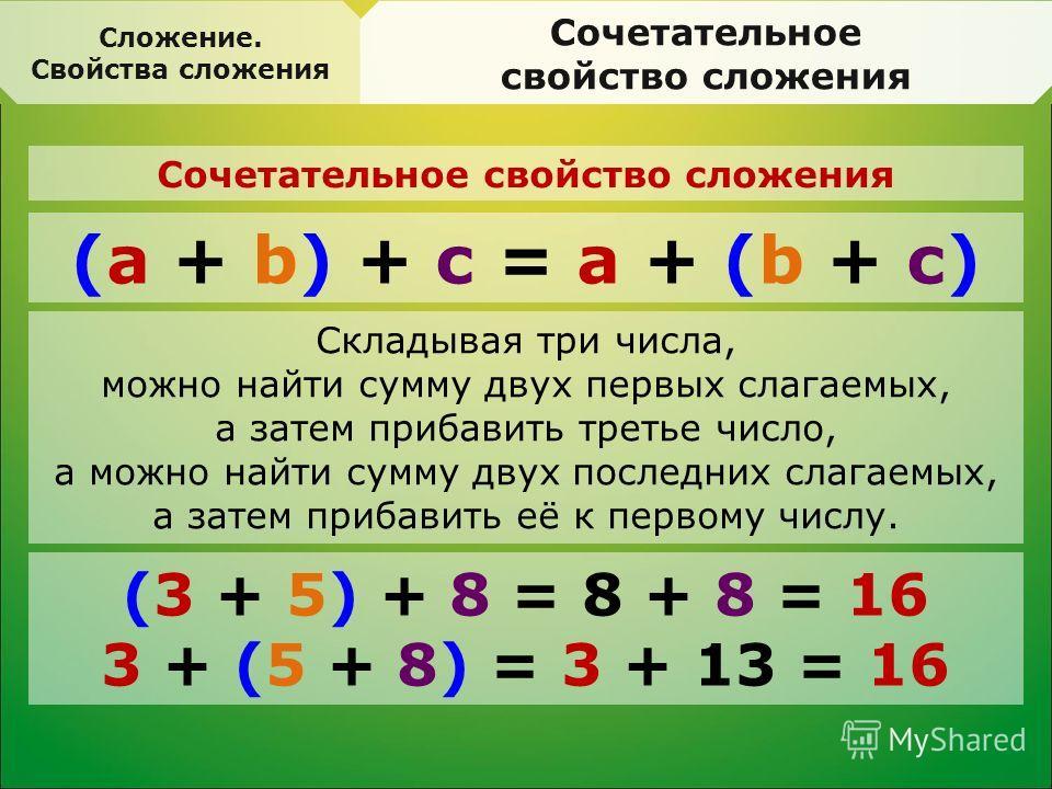 Сложение. Свойства сложения Сочетательное свойство сложения (а + b) + с = а + (b + с) Сочетательное свойство сложения (3 + 5) + 8 = 8 + 8 = 16 3 + (5 + 8) = 3 + 13 = 16 Складывая три числа, можно найти сумму двух первых слагаемых, а затем прибавить т
