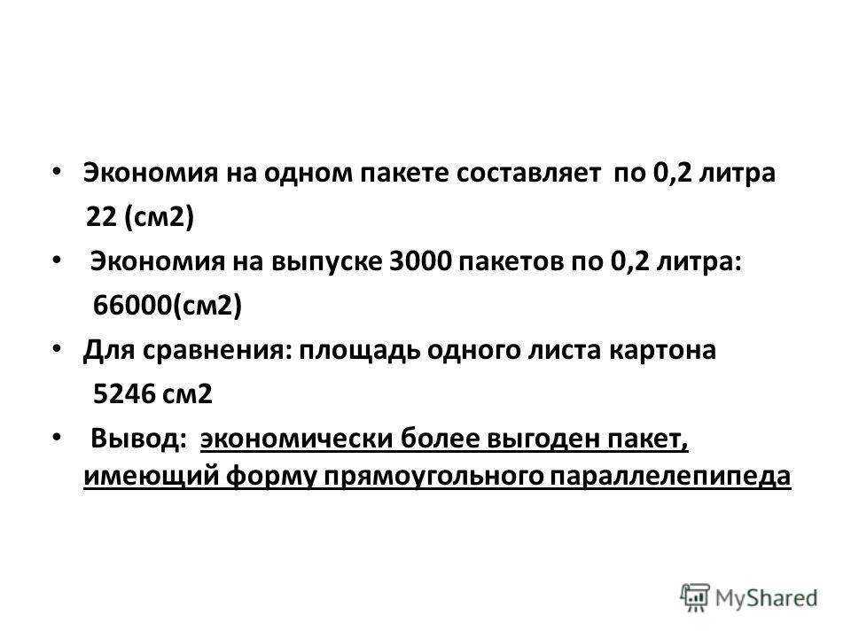 Экономия на одном пакете составляет по 0,2 литра 22 (см 2) Экономия на выпуске 3000 пакетов по 0,2 литра: 66000(см 2) Для сравнения: площадь одного листа картона 5246 см 2 Вывод: экономически более выгоден пакет, имеющий форму прямоугольного параллел