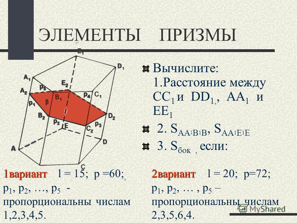 ЭЛЕМЕНТЫ ПРИЗМЫ Вычислите: 1. Расстояние между CC 1 и DD 1,, AA 1 и EE 1 2. S AA 1 B 1 B, S AA 1 E 1 E 3. S бок, если: 1 вариант 1 вариант l = 15; p =60;, p 1, p 2, …, p 5 - пропорциональны числам 1,2,3,4,5. 2 вариант 2 вариант l = 20; p=72; p 1, p 2