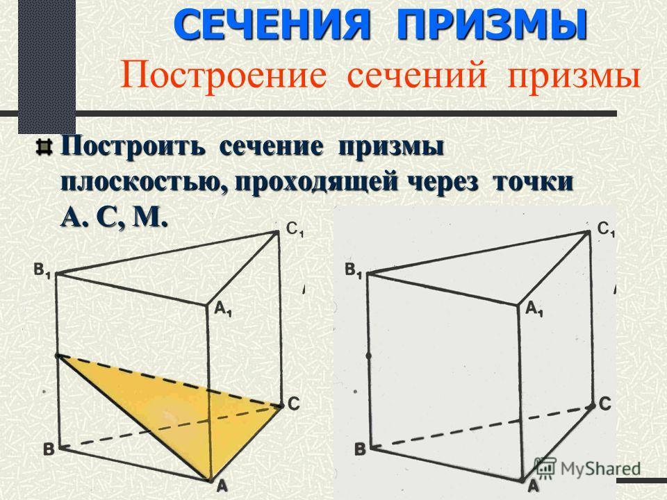 СЕЧЕНИЯ ПРИЗМЫ СЕЧЕНИЯ ПРИЗМЫ Построение сечений призмы Построить сечение призмы плоскостью, проходящей через точки А. С, М.