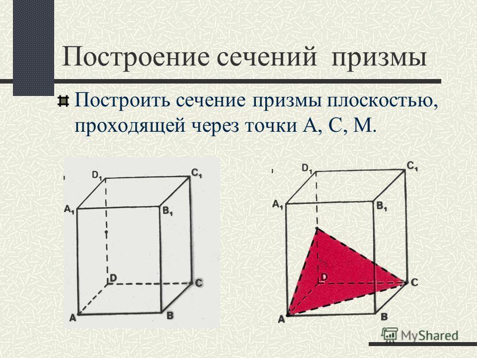 Построение сечений призмы Построить сечение призмы плоскостью, проходящей через точки А, С, М.