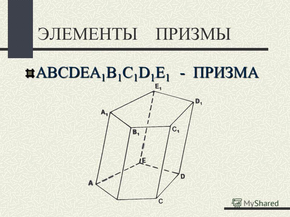 ЭЛЕМЕНТЫ ПРИЗМЫ ABCDEA 1 B 1 C 1 D 1 E 1 - ПРИЗМА