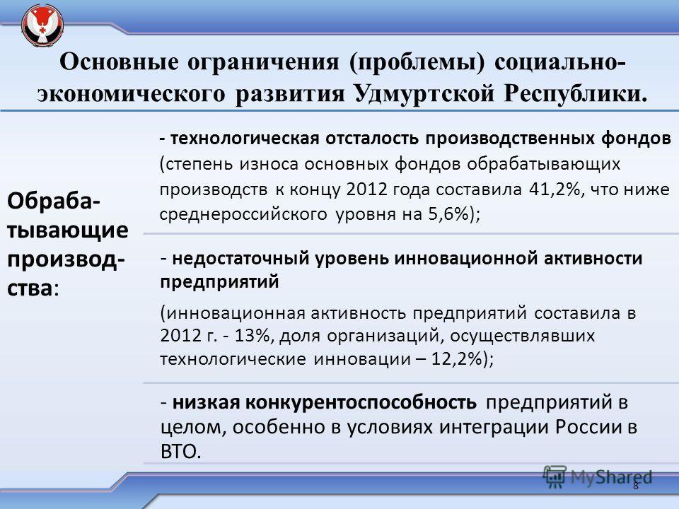 Основные ограничения (проблемы) социально- экономического развития Удмуртской Республики. Обраба- тывающие производства: - технологическая отсталость производственных фондов (степень износа основных фондов обрабатывающих производств к концу 2012 года