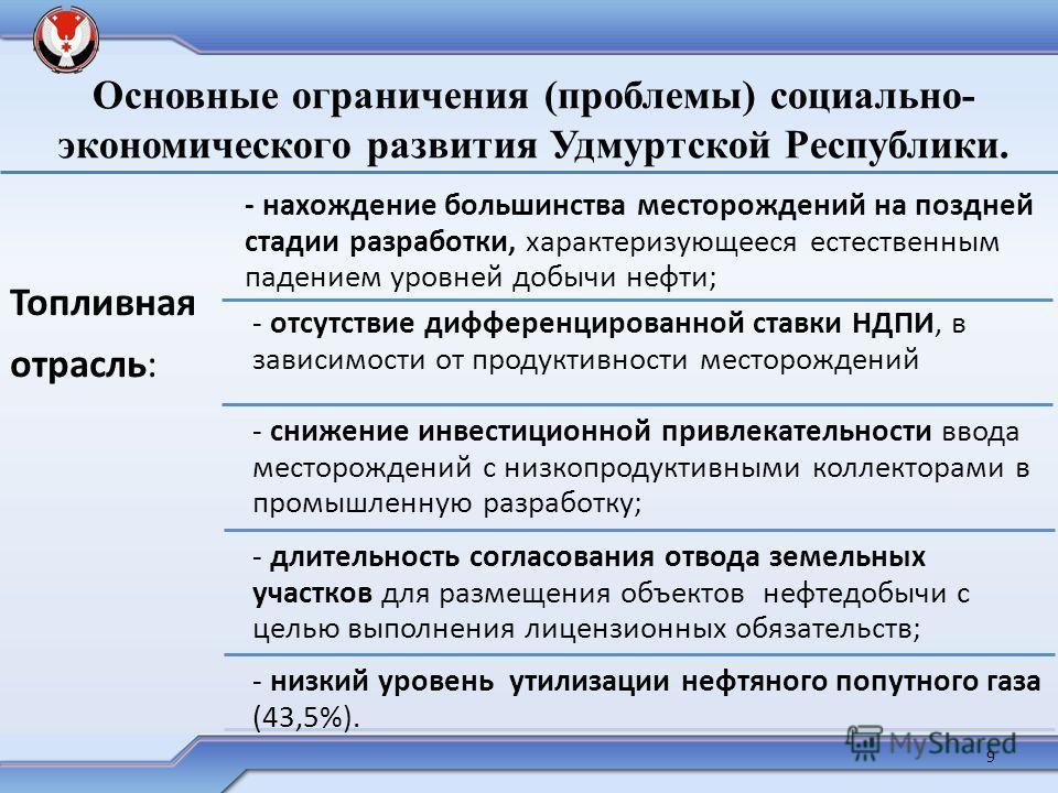 Основные ограничения (проблемы) социально- экономического развития Удмуртской Республики. Топливная отрасль: - нахождение большинства месторождений на поздней стадии разработки, характеризующееся естественным падением уровней добычи нефти; - отсутств