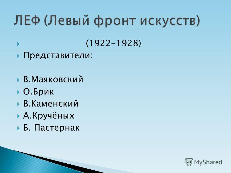 (1922-1928) Представители: В.Маяковский О.Брик В.Каменский А.Кручёных Б. Пастернак