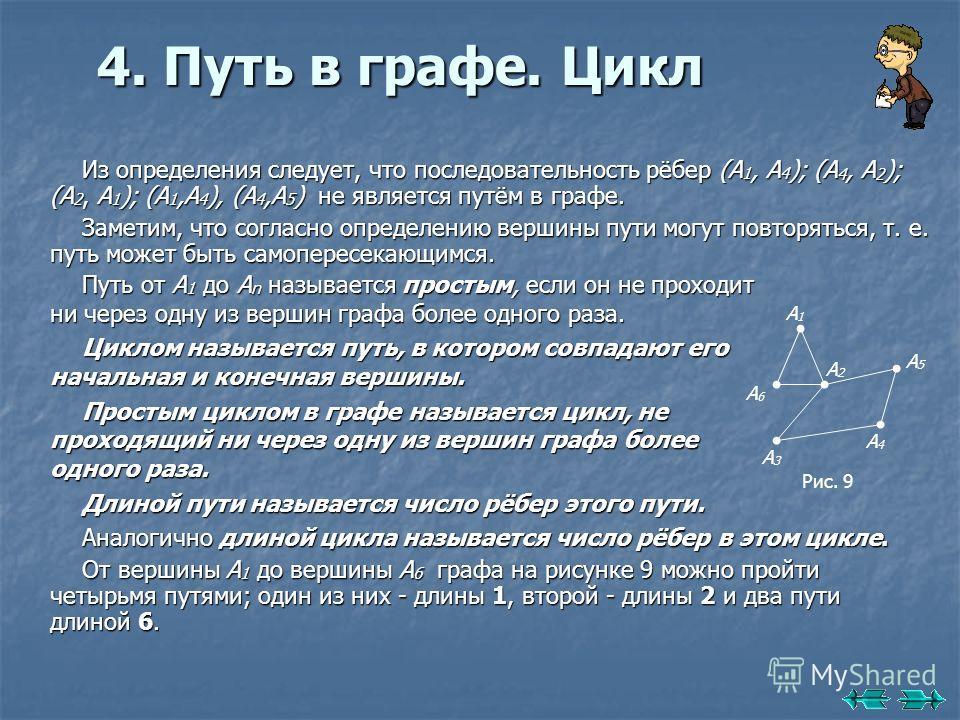 4. Путь в графе. Цикл Путь от А 1 до А n называется простым, если он не проходит ни через одну из вершин графа более одного раза. Циклом называется путь, в котором совпадают его начальная и конечная вершины. Простым циклом в графе называется цикл, не