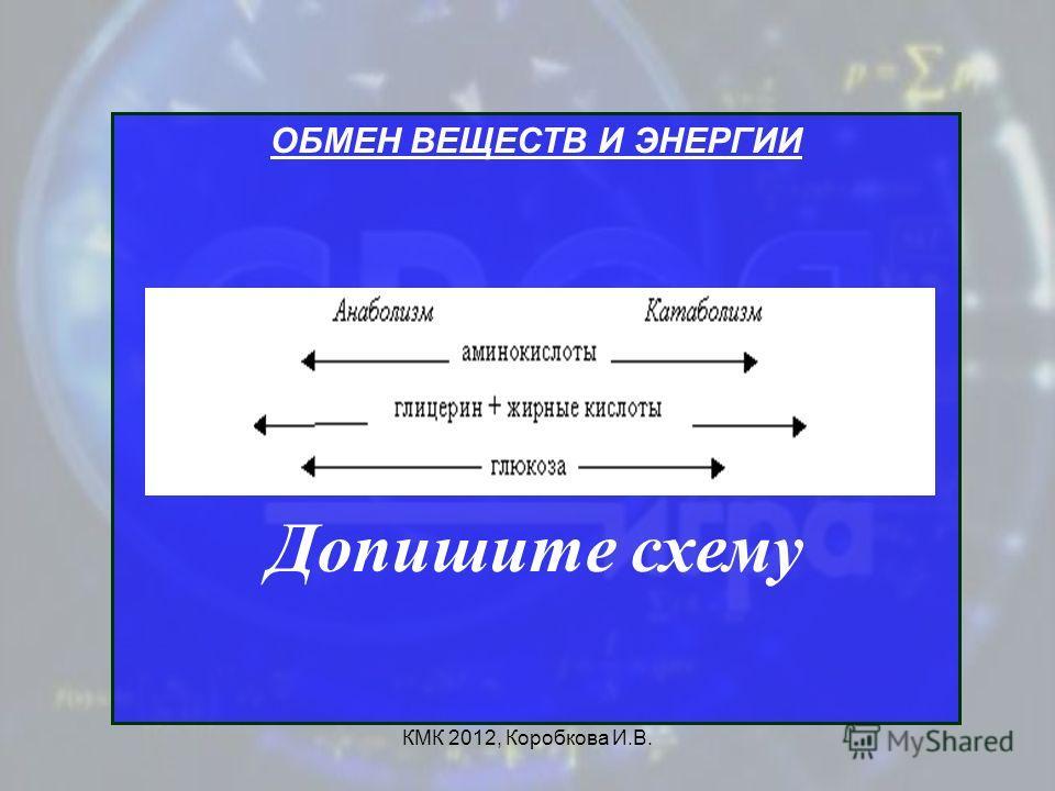КМК 2012, Коробкова И.В. ОБМЕН ВЕЩЕСТВ И ЭНЕРГИИ Допишите схему