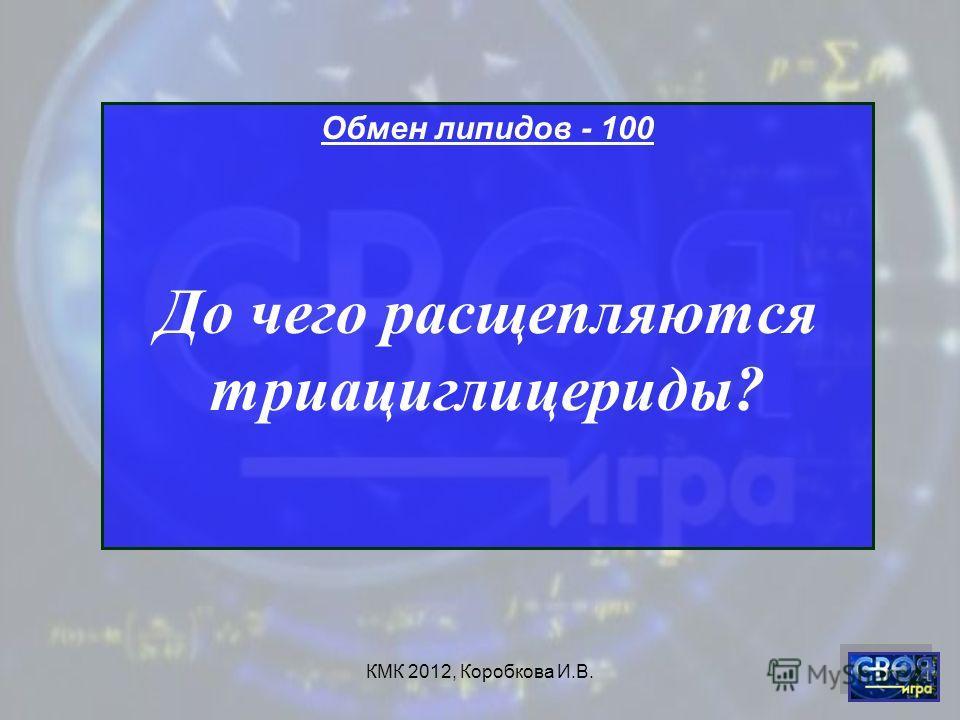 КМК 2012, Коробкова И.В. Обмен липидов - 100 До чего расщепляются триациглицериды?