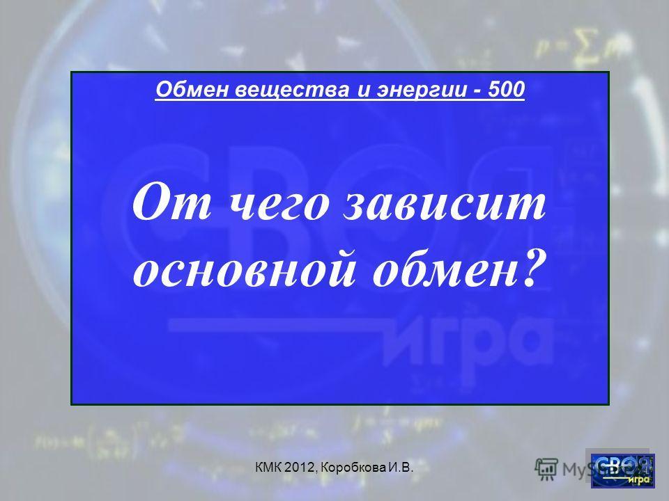 КМК 2012, Коробкова И.В. Обмен вещества и энергии - 500 От чего зависит основной обмен?