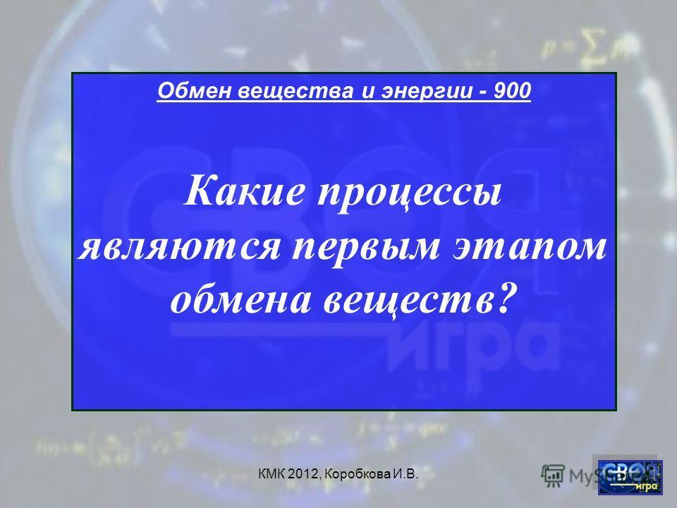 КМК 2012, Коробкова И.В. Обмен вещества и энергии - 900 Какие процессы являются первым этапом обмена веществ?